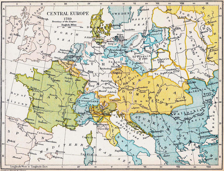 1789 Fransa ve Avrupa Haritası