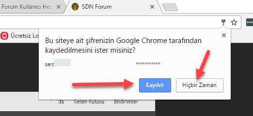 Chrome Girilen Şifreleri Kaydetmeyi Sormasın