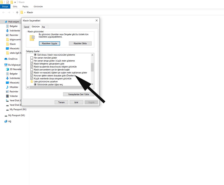 Korunan işletim sistemi dosyaları gizle. Windows 10'da Gizli Klasör ve Dosyaları Gösterme..